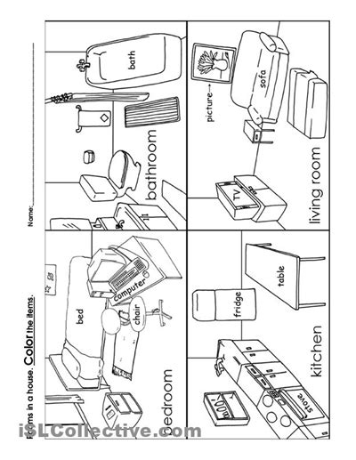 printable coloring pages rooms house 12 best images of rooms in a house worksheet house rooms