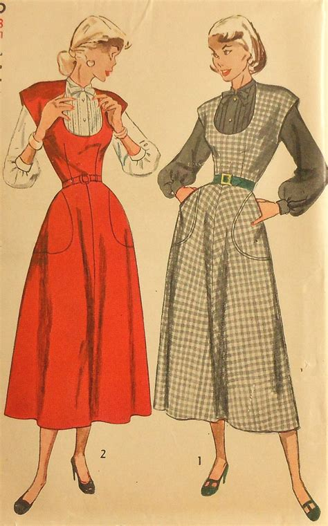 retro pattern jumper vintage 50s jumper dress and blouse sewing pattern uncut