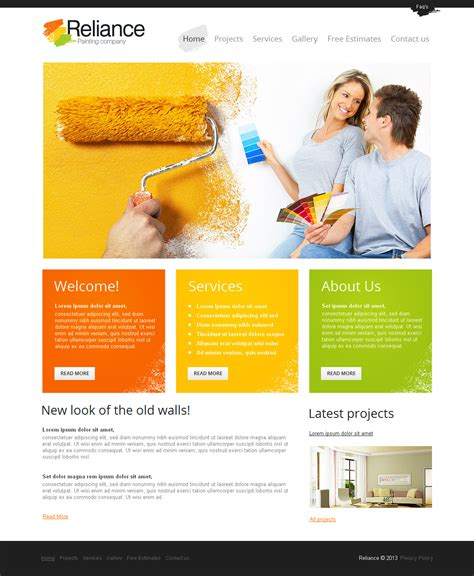 html templates for advertising company painting company moto cms html template 42932