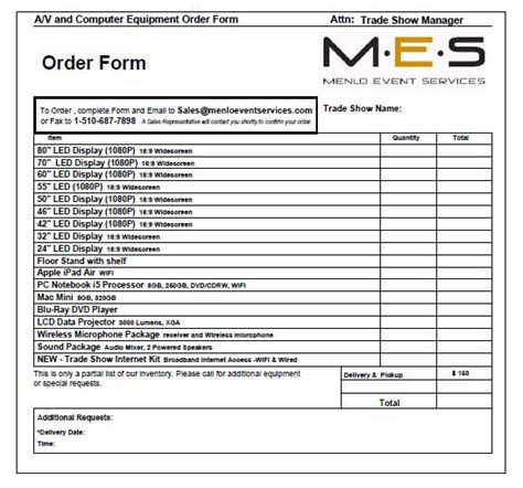 trade show order form template request a quote menlo event services