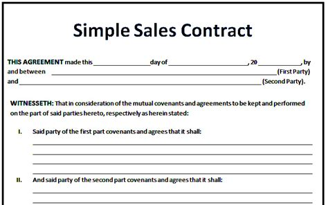 sales contract agreement template 6 sales agreement templates excel pdf formats