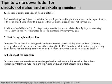 Director Of Marketing Cover Letter by Director Of Sales And Marketing Cover Letter