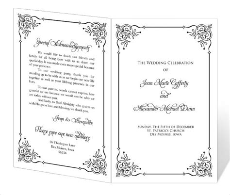 free printable wedding program templates word wedding program template 41 free word pdf psd