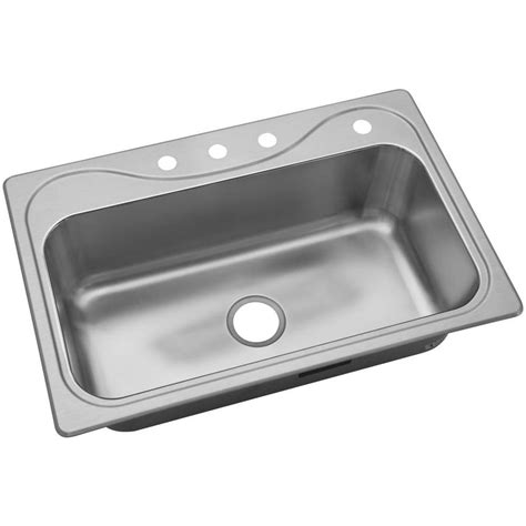 Single Basin Stainless Steel Kitchen Sink Shop Kohler Southhaven 33 In X 22 In Single Basin Stainless Steel Drop In 4 Commercial