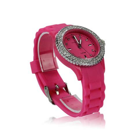 Nisa Moda Pink By U Shop donna orologio da polso in silicone con strass alla moda