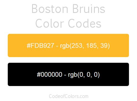 bruins colors boston bruins team color codes nhl team colors in 2019