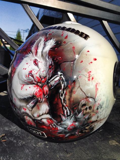 Motorradhelm Bemalen by Airbrushed Evil Bunny Helmet Painted By Mike Lavallee Of