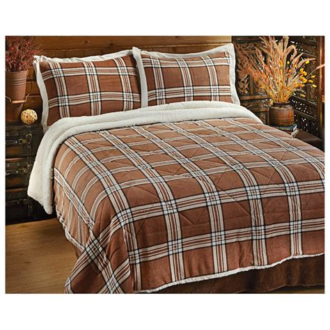 castlecreek 174 plaid sherpa comforter set 300173