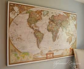 World Map Wall by World Map Wall Art Slipcovered Grey