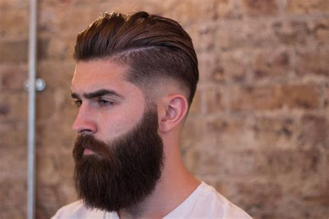 pompadour hairstyle with beard skinfade pompadour with beard mens hairstyles club