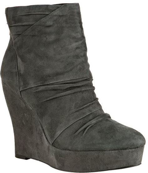 boutique 9 grey suede wafer ruched wedge boots in