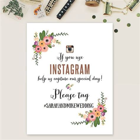 Wedding Hashtag Cards by Wedding Instagram Hashtags Signs Printable Template