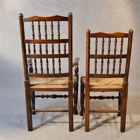 Oak Spindle Back Dining Chairs Antique Set 6 Quality Oak Kitchen Dining Spindle Back Chairs With Carvers C1900 233112