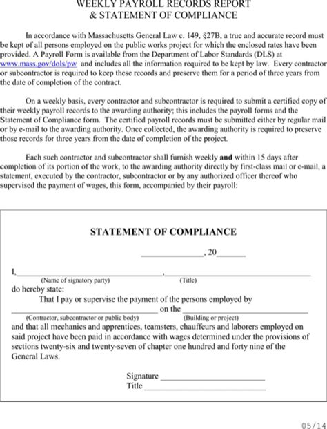compliance statement template massachusetts certified payroll form for free