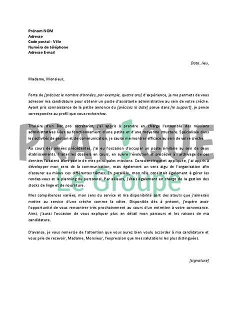 Lettre De Motivation De Stage En Creche Application Letter Sle Modele De Lettre De Motivation Pour Un Emploi En Creche
