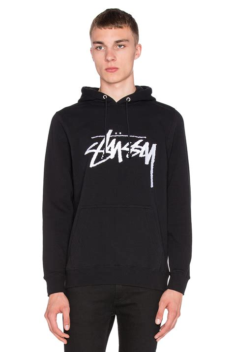 Hoodie Sweater Stussy 1 stussy stock embroidered hoodie in black for lyst