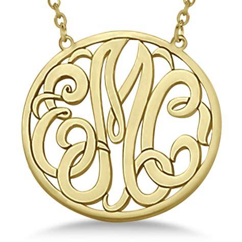 custom initial circle monogram pendant necklace 14k yellow