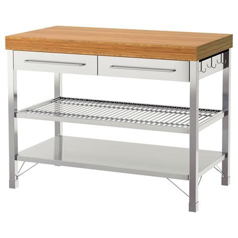 kitchen work bench rimforsa work bench stainless steel bamboo 120x63 5x92 cm