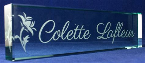 glass name plates for desk personalized crystal name plates
