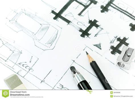 bauplan zeichnen bauplan zeichnen mit bleistift stock abbildung bild