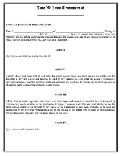 free template for last will and testament last will and testament template real estate forms