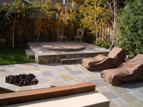 Patio Design Tub Pit Aesthetic Landscape Traditional Design With Grass Tub
