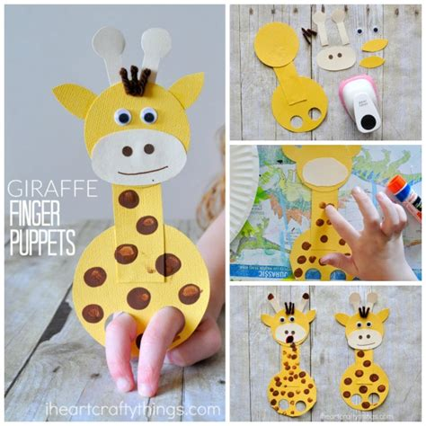 Paper Puppet Crafts - adorable giraffe finger puppet craft i crafty things