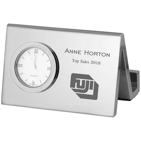 Engraved Business Card Holder For Desk by Corporate Engraved Desk Business Card Holder With Clock