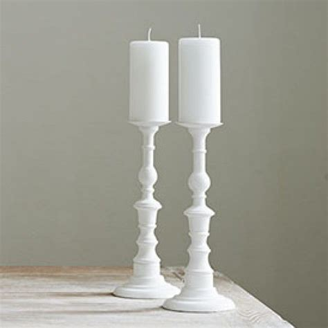 White Candlestick Holders by Orvieto Wooden Candlesticks Large White Pillar Candle