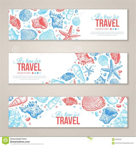design banner horizontal summer sea shells horizontal banner design stock vector