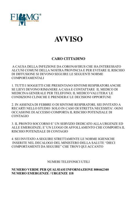 Oggetto: Avviso Coronavirus FIMMG Provincia di Venezia