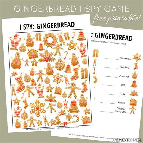free printable gingerbread man games gingerbread christmas i spy game free printable for kids