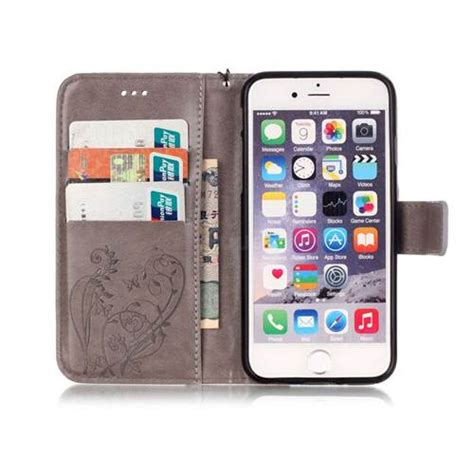 Leather For Iphone 6 4 7 Grey embossing butterfly flower leather wallet for iphone