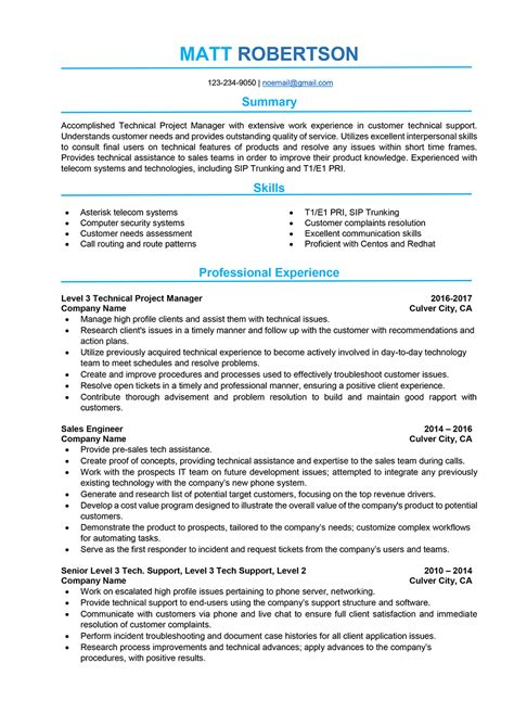 technical project manager resume format project manager resume sles and writing guide 10 exles resumeyard