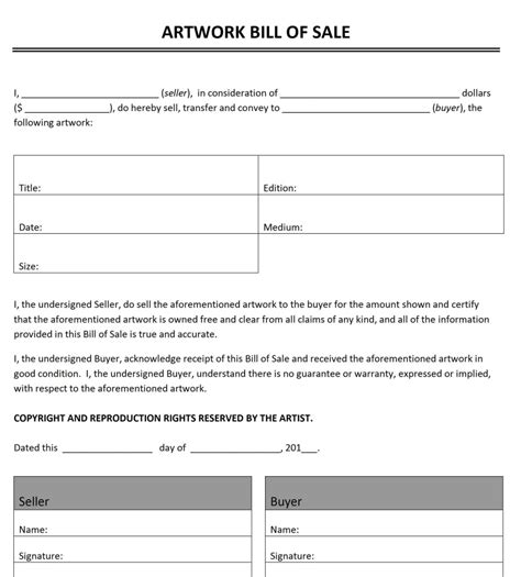 Free Artwork Bill Of Sale Template Microsoft Office 2007 Bill Of Sale Template