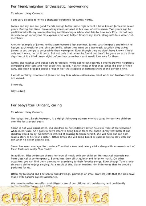 Reference Letter Format From Neighbours For Passport Reference Letter Template