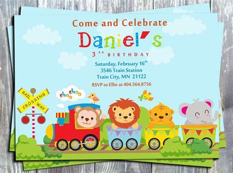 printable animal invitations animal train printable birthday invitation
