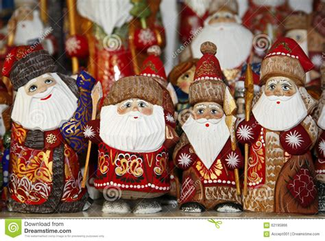 santa decorations selling during christmas market stock