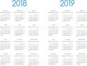 Calendario 2018 E 2019 Novo Ano 2018 E 2019 Vector Design Simples Moderno De