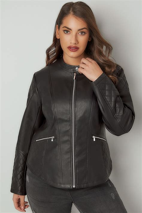 Gift Card Address Verification - black faux leather jacket with quilted shoulders plus size 16 to 36