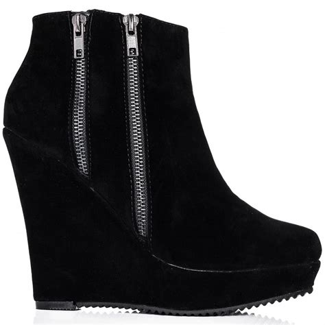 buy hugme wedge heel zip platform ankle boots black suede