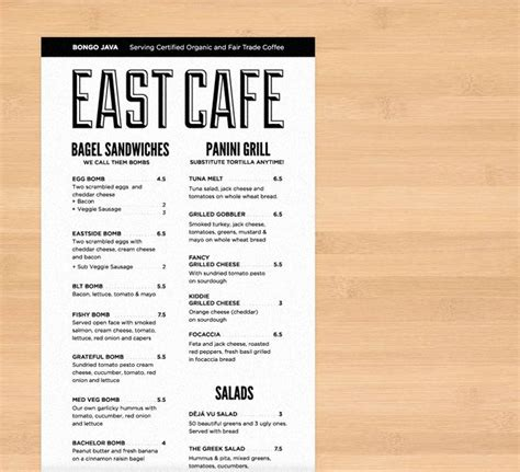 menu layout ideas for cafe bongo east cafe menu yk design ideas menu pinterest