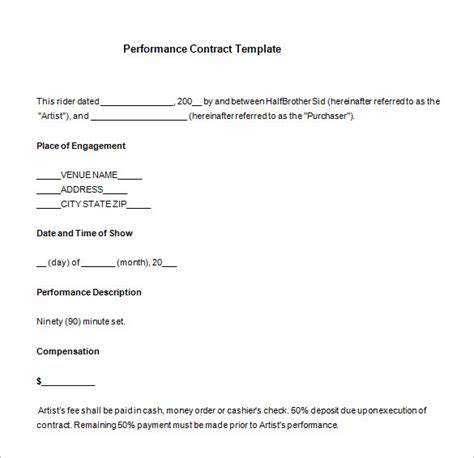 performance contracts templates 12 performance contract templates free word pdf