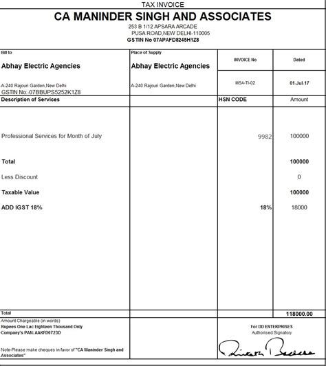 sle invoice under reverse charge mechanism download excel format of tax invoice in gst gst invoice