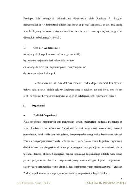 Organisasi Kepemimpinan Dan Perilaku Administrasi Sondang P Siagian makalah bab 1 administrasi organisasi dan manajemen