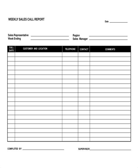 Free Daily Sales Call Report Template 5 Daily Call Report Templates 6 Free Word Pdf Format