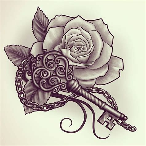 rose and key tattoo key and design tattoos