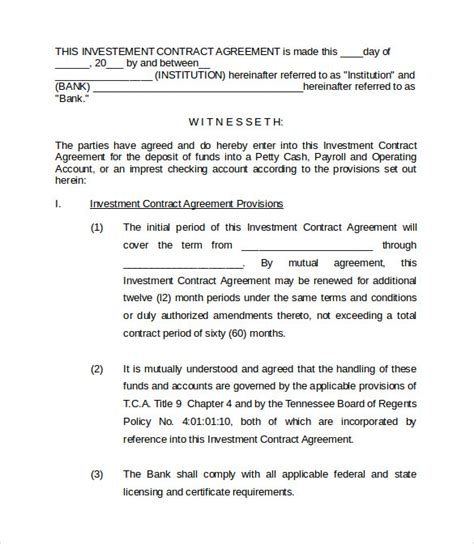 Investment Agreement Letter Sle Investment Contract Templates 8 Free Documents In Pdf Word