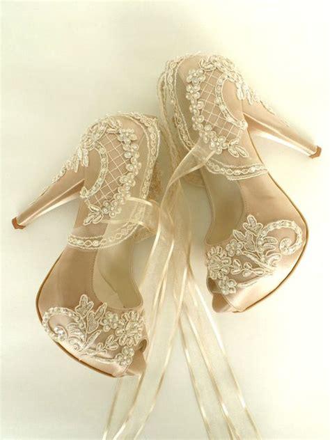 Brautschuhe Standesamt by Brautschuhe Chagner Bestickt Lace Braut Schuhe