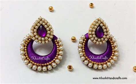 Handmade Jewellery Materials - silk thread chandbali with pearl work khushi handmade